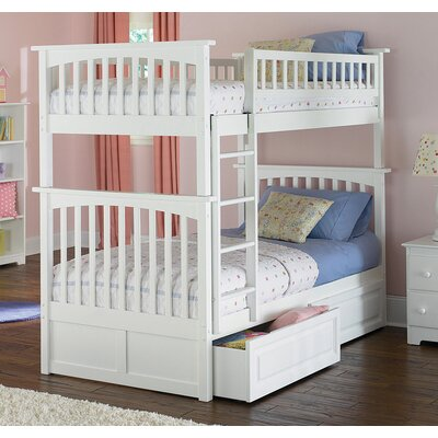 Henry Bunk Bed with Storage Configuration: Twin over Twin, Finish: Caramel Latte