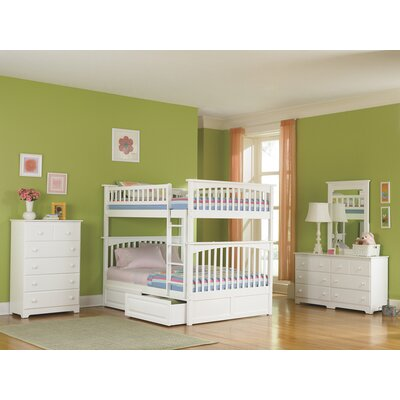 Henry Bunk Bed with Storage Size: Twin over Full, Color: White