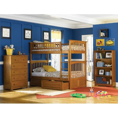 Henry Bunk Bed with Storage Configuration: Twin over Full, Finish: Caramel Latte