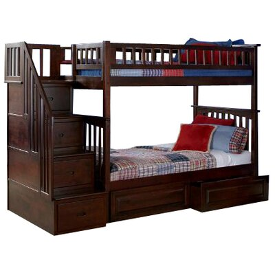 Henry Bunk Bed with Storage Size: Twin over Full, Color: Antique Walnut