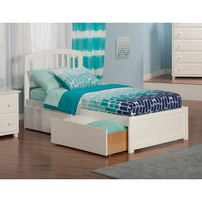 Timmy Extra Long Twin Slat Bed with Storage Color: White