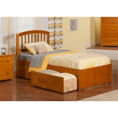 Timmy Extra Long Twin Slat Bed with Storage Color: Caramel Latte
