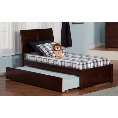 Greyson Sleigh Bed with Trundle Color: Antique Walnut, Size: Twin