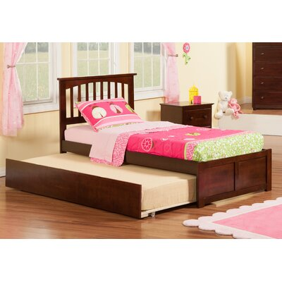 Greyson Slat Bed with Trundle Finish: Antique Walnut, Size: Full