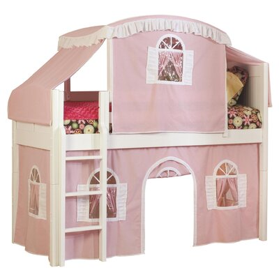Bonneau Traditional Twin Low Loft Bed Configuration: Low Loft Bed with Tent, Color: Pink