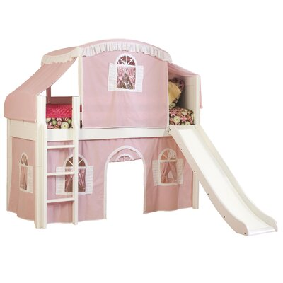 Bonneau Traditional Twin Low Loft Bed Configuration: Low Loft Bed with Tent and Slide, Color: Pink