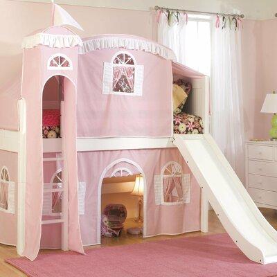 Bonneau Twin Low Loft Wood Frame Bed Configuration: Low Loft Bed with Castle Tent and Slide