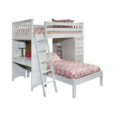 Bonneau Twin Loft Bed with Lower Platform Bed Finish: White