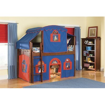 David Low Loft Tent Bed with Top Tent in Cherry Configuration: Low Loft Bed with Tent and Slide, Colors: Blue and Red
