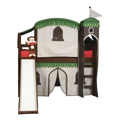 Bonneau Twin Low Loft Bed with Tower Color: Cherry, Configuration: with Tent and Slide