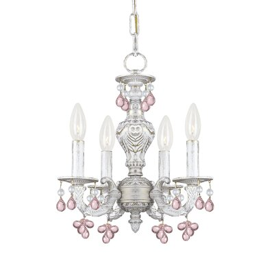 Odessa 4-Light Crystal Chandelier Crystal Color: Rose