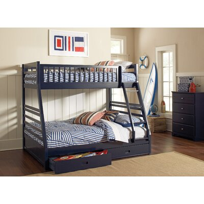 Rafael Twin over Full Bunk Bed with Storage Finish: Navy