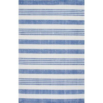 Serina Loomed Blue/Cream Area Rug Rug Size: 76 x 96