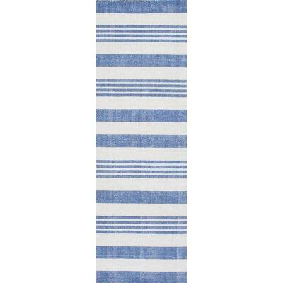 Serina Loomed Blue/Cream Area Rug Rug Size: Runner 26 x 8