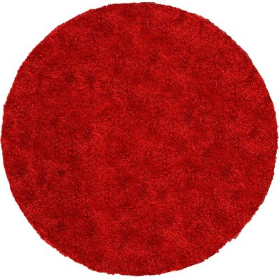Evelyn Red Area Rug Rug Size: Round 8