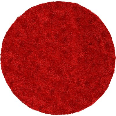 Evelyn Red Area Rug Rug Size: Round 6