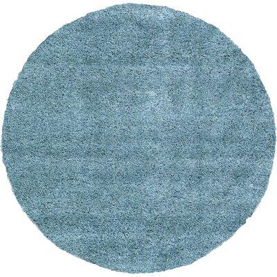 Evelyn Light Blue Area Rug Rug Size: Round 8