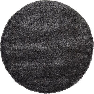 Evelyn Black Area Rug Rug Size: Round 6