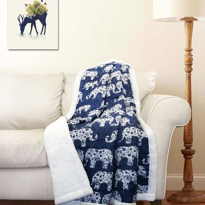 Hector Sherpa Throw Blanket Color: Navy