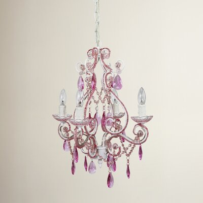 Caden 4-Light Crystal Chandelier Finish: Pink