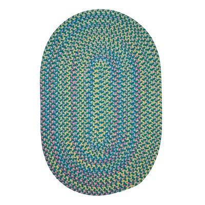 Brandon Hand-Woven Green Area Rug Rug Size: Oval 12 x 15