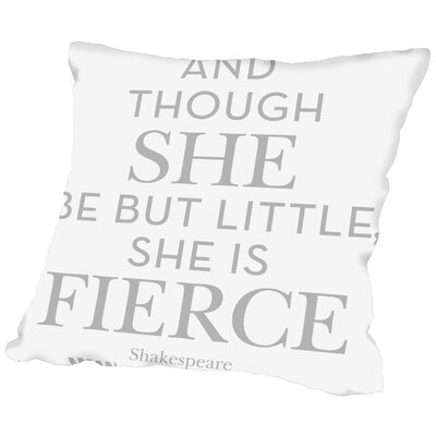 Tris She Is Fierce Throw Pillow Color: Gray, Size: 18 H x 18 W x 2 D