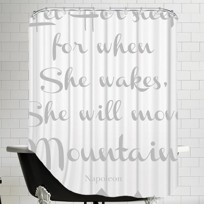 Let Her Sleep Mountains Shower Curtain Color: Gray