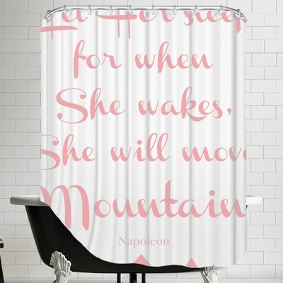 Let Her Sleep Mountains Shower Curtain Color: Pink