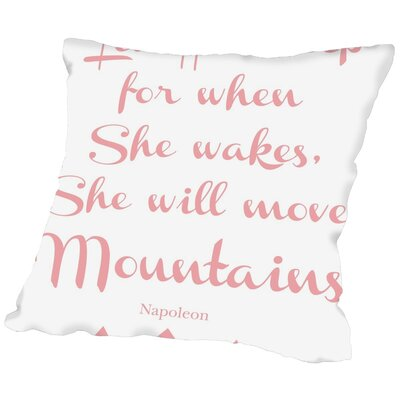 Tris Let Her Sleep Mountains Throw Pillow Size: 16 H x 16 W x 2 D, Color: Pink