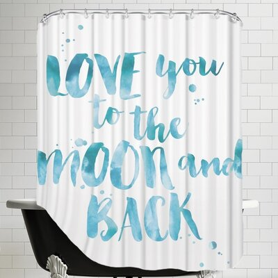 Love You To Moon Back Shower Curtain Color: Blue / White