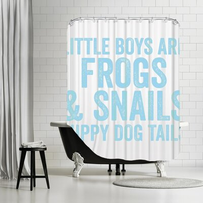 Frogs & Snails Shower Curtain Color: Light Blue