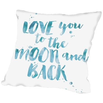 Tris Love You to Moon Back Throw Pillow Color: Blue / White, Size: 20 H x 20 W x 2 D