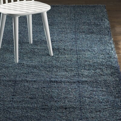 Evelyn Navy Blue Area Rug Rug Size: Round 8