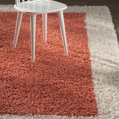 Athena Ivory and Crimson Shag Area Rug Rug Size: 8 x 10