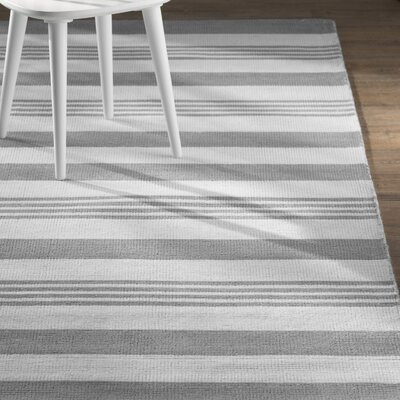 Nora Hand-Loomed Gray Area Rug Rug Size: 76 x 96