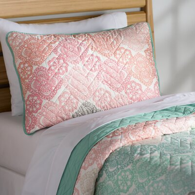 Alicia Quilt Set Size: Twin, Color: Green/Pink