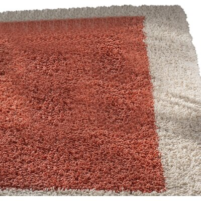 Fabrizio Ivory and Crimson Shag Area Rug Rug Size: 4 x 6