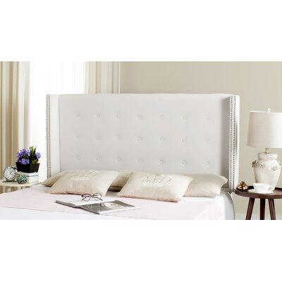Keisha Upholstered Wingback Headboard Upholstery: White, Size: Full