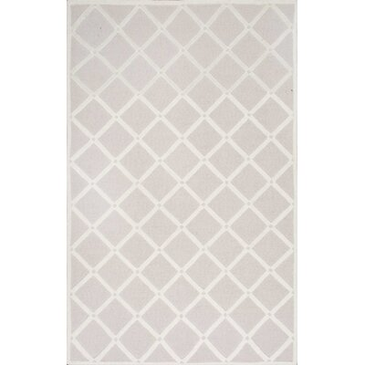 Jon Hand-Hooked Light Gray Area Rug Rug Size: Rectangle 5 x 8