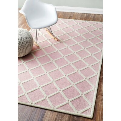 Mystro Hand-Hooked Pink Area Rug Rug Size: Rectangle 4 x 6