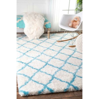 Junior Shag Baby Blue Area Rug Rug Size: 8 x 10