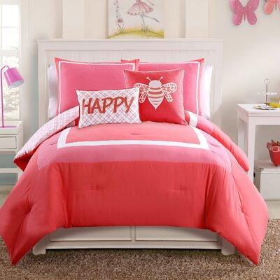 Xavier Comforter Set Color: Coral, Size: Full/Double