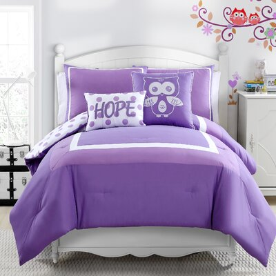 Xavier Comforter Set Color: Lavender, Size: Full/Double