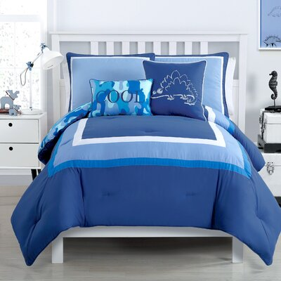 Xavier Comforter Set Color: Navy, Size: Twin XL