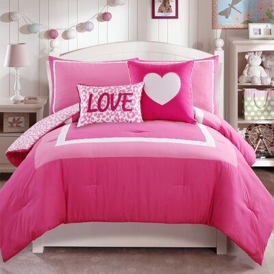 Lewisville Comforter Set Color: Pink, Size: Twin