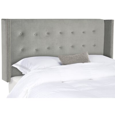 Keisha Queen Upholstered Wingback Headboard Upholstery: Pewter, Size: Queen