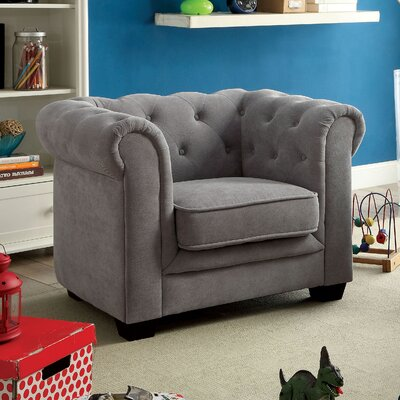 Brayden Youth Chestefield Chair Upholstery: Gray