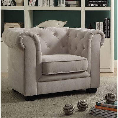 Brayden Tufted Youth Chestefield Chair Color: Beige