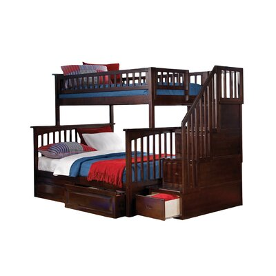 Henry Twin Bunk Bed with Storage Configuration: Twin over Full, Finish: Antique Walnut