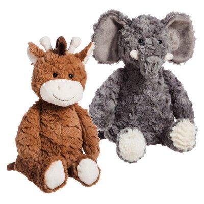 2 Piece Decorative Gina the Giraffe and Ella the Elephant Cuddly Stuffed Animal Set VVRO4141 31637976